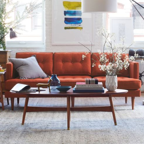 West Elm Peggy Sofa in Cayenne, $999. Photo source Westelm.com.