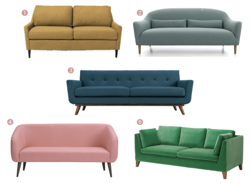 Colorful Mid-Century Couches Under $1000 // Annabode.com